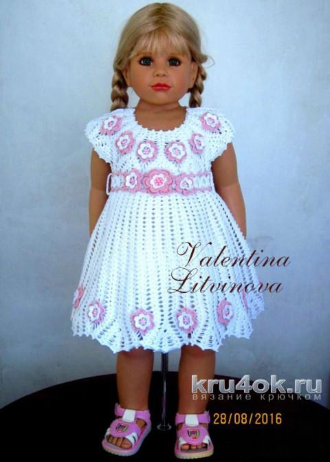 Нежное платье для девочки. Работа Валентины Литвиновой