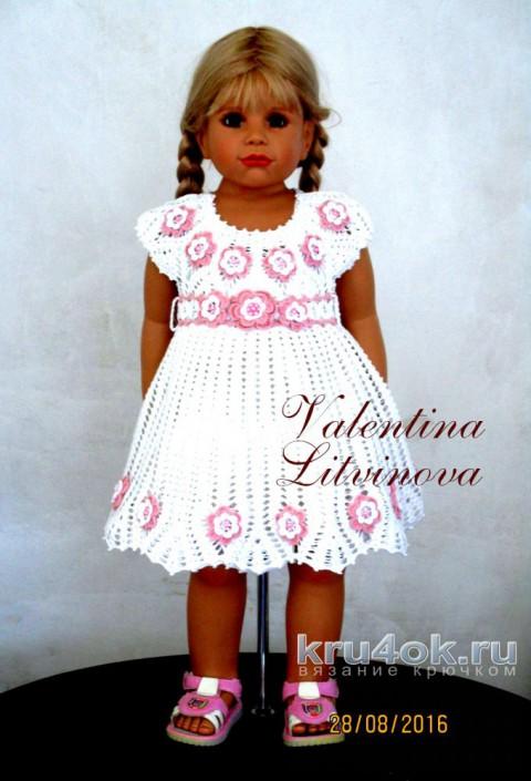 Нежное платье для девочки. Работа Валентины Литвиновой вязание и схемы вязания