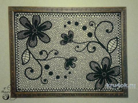 Панно Цветы в ночи. Работа Евгении Руденко вязание и схемы вязания