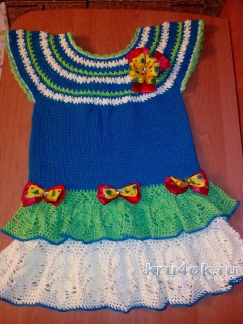 Платье для девочки крючком. Работа Галины Лукериной вязание и схемы вязания
