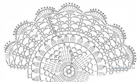 Салфетка крючком. Работа Натальи Аброськиной вязание и схемы вязания