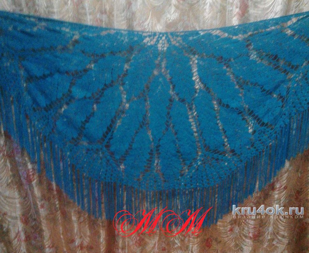 Вязание крючком шали дубовые листья