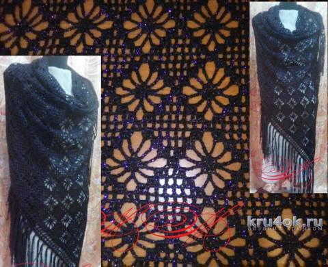 Шаль крючком со схемой. Работа Марины Михайловны вязание и схемы вязания