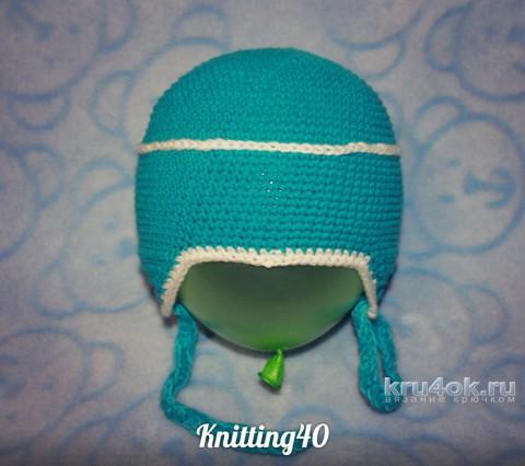Шапка - шлем летчика крючком. Работа Анны Касьяновой вязание и схемы вязания