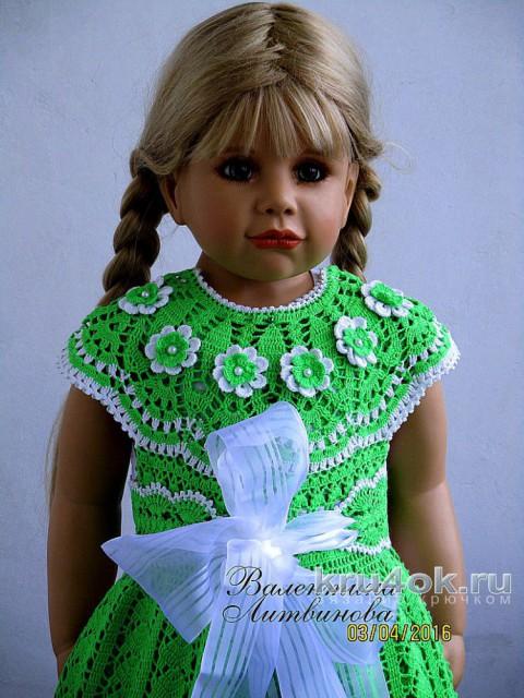 Вязаное платье и шляпка для девочки. Работы Валентины Литвиновой вязание и схемы вязания