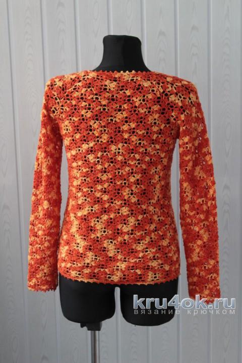 Ажурный пуловер крючком. Работа Ксюши Тихоненко вязание и схемы вязания