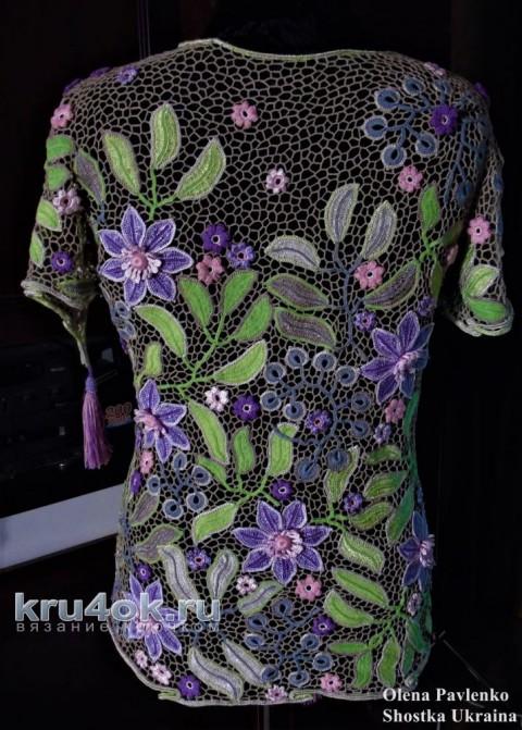 Блуза крючком Летняя пастель. Работа Елены Павленко вязание и схемы вязания