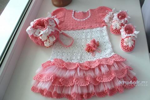 Детское платье крючком. Работа Ксюши Тихоненко вязание и схемы вязания