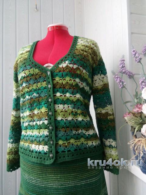 Костюм крючком Весенняя Зелень. Работа Ксюши Тихоненко вязание и схемы вязания