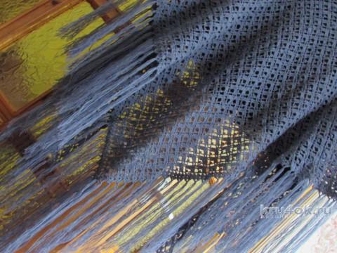 Шаль крючком Серый ажур. Работа Светланы Ивановой вязание и схемы вязания