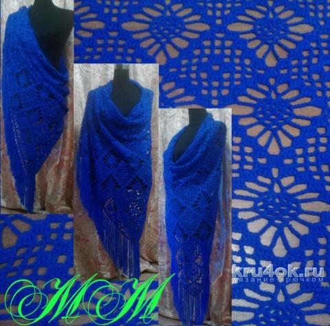 Синяя шаль крючком со схемой. Работа Марины Михайловны вязание и схемы вязания