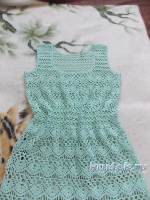Женское платье крючком. Работа Натальи Авдохиной вязание и схемы вязания