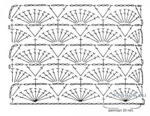 Ажурный пуловер крючком. Работа Анны Касьяновой вязание и схемы вязания