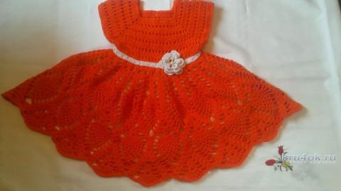 Детское платье крючком. Работа Лауры вязание и схемы вязания