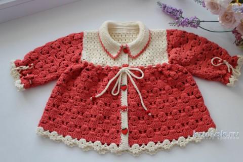 Кофточка для девочки крючком. Работа Ксюши Тихоненко вязание и схемы вязания