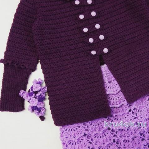 Костюм для девочки Веточка сирени. Работа Надежды Юсуповой вязание и схемы вязания