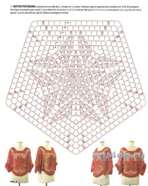Накидка крючком. Работа Петровой Виктории вязание и схемы вязания