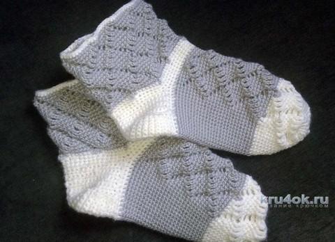 Носочки связанные крючком. Работа Галины вязание и схемы вязания