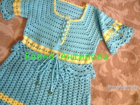 Платье для девочки крючком. Работа Елены Антиповой вязание и схемы вязания