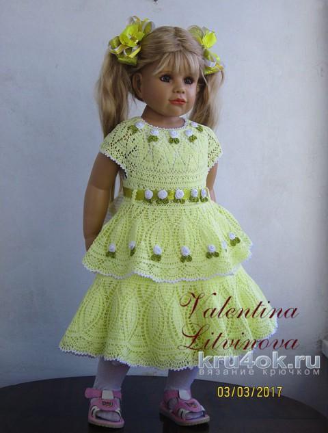 Платье для девочки крючком. Работа Валентины Литвиновой вязание и схемы вязания