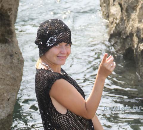 Платье и берет Черная жемчужинка. Работа Татьяны Родионовой вязание и схемы вязания