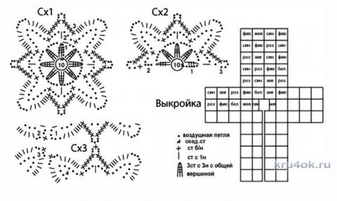 Шазюбль из квадратных мотивов. Работа Татьяны Родионовой вязание и схемы вязания