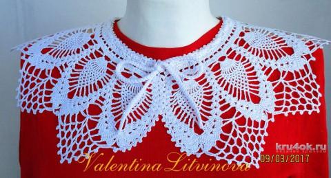 Воротничок крючком. Работа Валентины Литвиновой вязание и схемы вязания