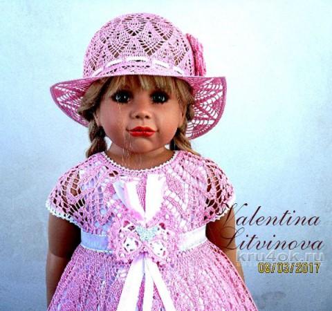 Вязаное крючком детское платье. Работа Валентины Литвиновой вязание и схемы вязания