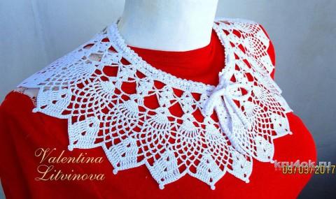 Вязаный воротник. Работа Валентины Литвиновой вязание и схемы вязания