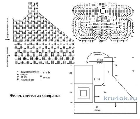 Жилет, спинка из квадратов. Работа Татьяны Родионовой вязание и схемы вязания
