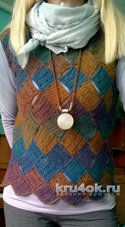 Жилет, связанный крючком в технике пэчворк. Работа Елены Шевчук вязание и схемы вязания