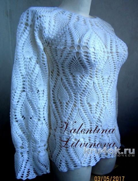 Блузка крючком. Работа Валентины Литвиновой вязание и схемы вязания