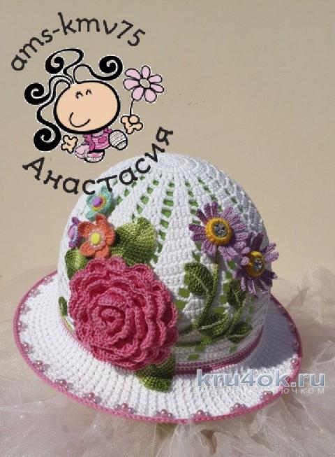 Летняя шляпка крючком. Работа Анастасии ams-kmv75 вязание и схемы вязания