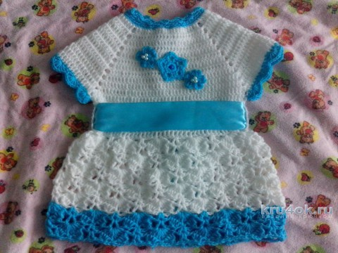 Платье и болеро для девочки крючком. Работа Катерины Петяниной вязание и схемы вязания
