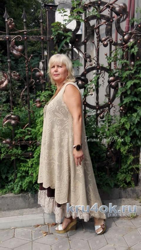 Платье крючком в стиле бохо. Работа Татьяны Колесниченко Тарчевской вязание и схемы вязания
