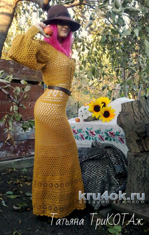 Платье крючком в винтажном стиле. Работа Татьяны Колесниченко Тарчевской вязание и схемы вязания