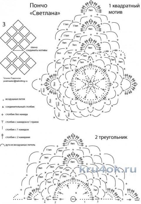 Пончо Светлана. Работа Татьяны Родионовой вязание и схемы вязания