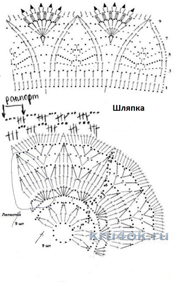 Азиатское вязание спицами схемы круглых кокеток сверху 78