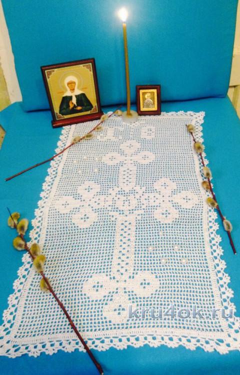 Салфетка к Пасхе. Работа Петровой Виктории вязание и схемы вязания