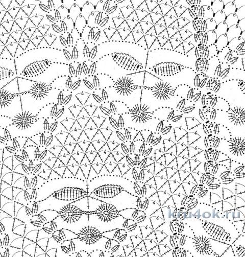Шаль крючком Мандариновое дерево. Работа Татьяны Родионовой вязание и схемы вязания
