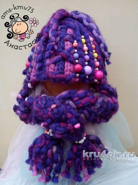 Шапочка для девочки крючком. Работа Анастасии вязание и схемы вязания