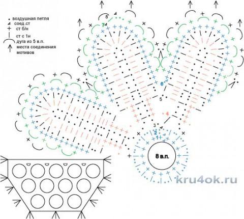 Вязаная шаль с цветами. Работа Татьяны Родионовой вязание и схемы вязания