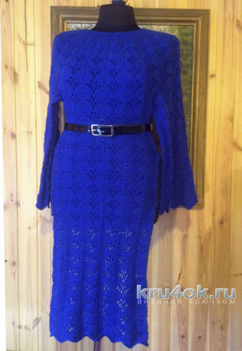 Женское платье крючком. Работа Петровой Виктории вязание и схемы вязания