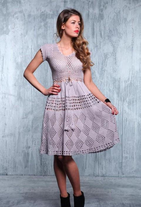 Вязание крючком платья с подиума