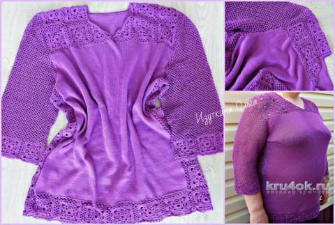 Кофточка женская Лиловый цвет. Работа Ольги Изуткиной вязание и схемы вязания