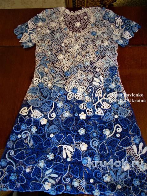 Платье Лазурь лета. Работа Елены Павленко вязание и схемы вязания