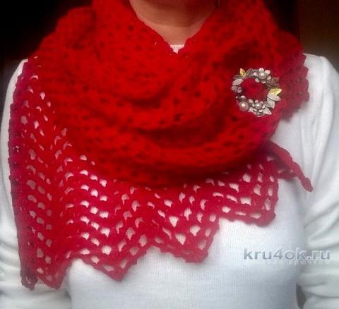 Пуховый ажурный шарф крючком