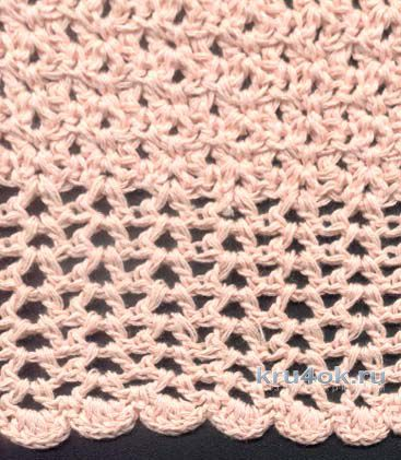 Розовый топ на круглой кокетке. Работа Татьяны Родионовой вязание и схемы вязания