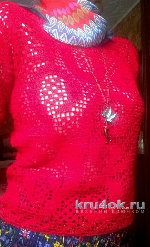 Вязаная кофточка в филейной технике. Работа Елены  Шевчук вязание и схемы вязания