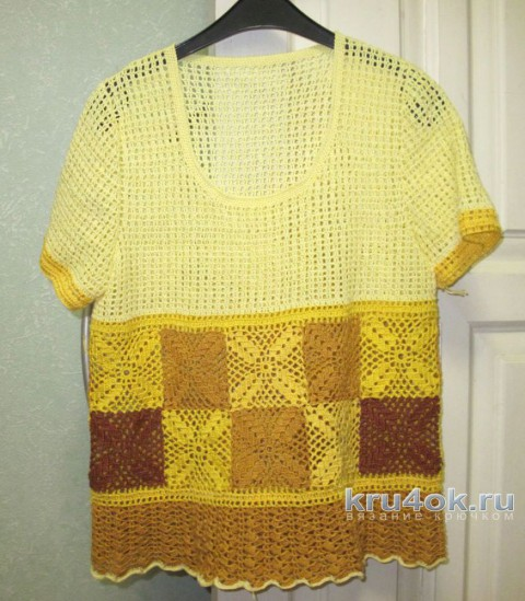 Женская кофточка крючком. Работа Любови вязание и схемы вязания